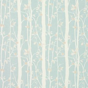 Cottonwood Duck Egg Floral Linen/Cotton Fabric
