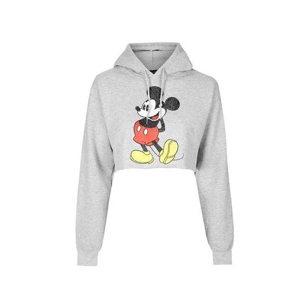 TopShop Mickey Mouse Vintage Cropped Hoodie (155 ILS) ❤ liked on Polyvore featuring tops, hoodies, grey marl, gray crop top, vintage crop top, gray hooded sweatshirt, grey hooded sweatshirt and vintage hoodies