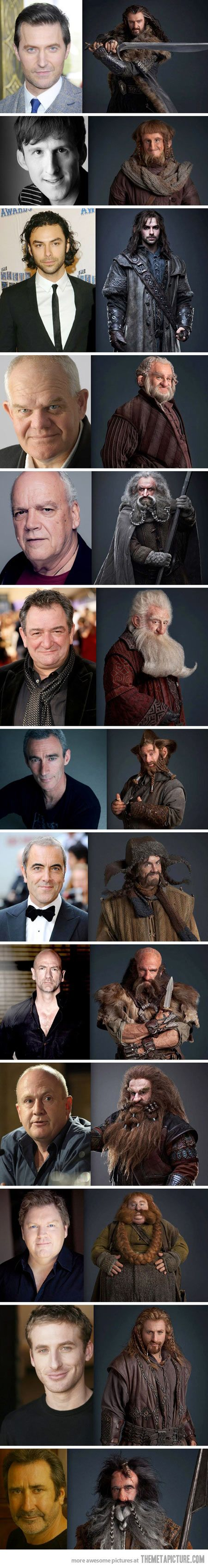 The Hobbit dwarves, pre and post make-up…INCREDIBLE! :)