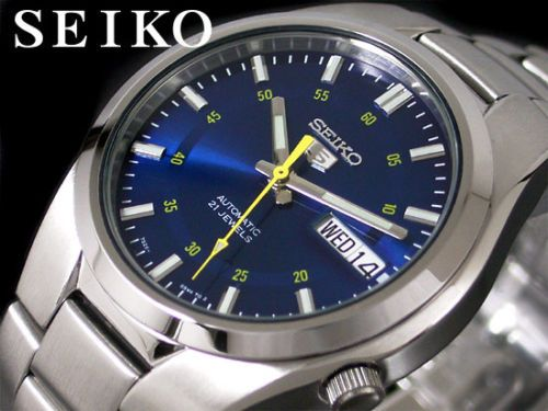 low priced 3c147 841c0 Seiko 5 Automatic Mens Watch Blue Dial Skeleton Back ...
