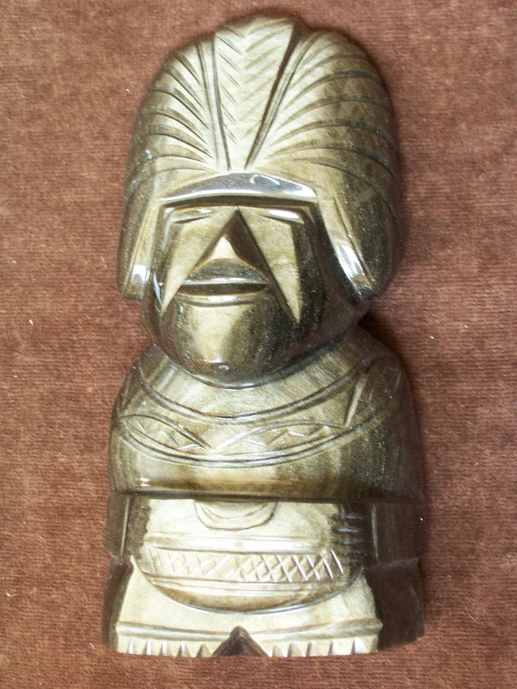 """Hand Carved Gold Sheen Obsidian Aztec Statue -- 9"""" high by RobertsXclusiveGifts on Etsy"""