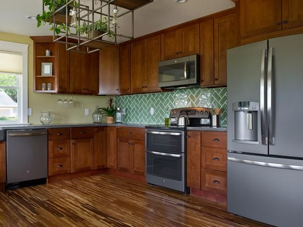 """Kitchen:  """"Gray slate appliances inspire the tone and theme of surrounding kitchen materials."""""""