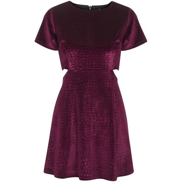 TOPSHOP Online Exclusive Cut-Out Velvet Skater Dress ($34) ❤ liked on Polyvore featuring dresses, topshop, skater dress, velvet, deep berry, cutout dress, topshop dresses, velvet dress, purple cocktail dress and purple dress