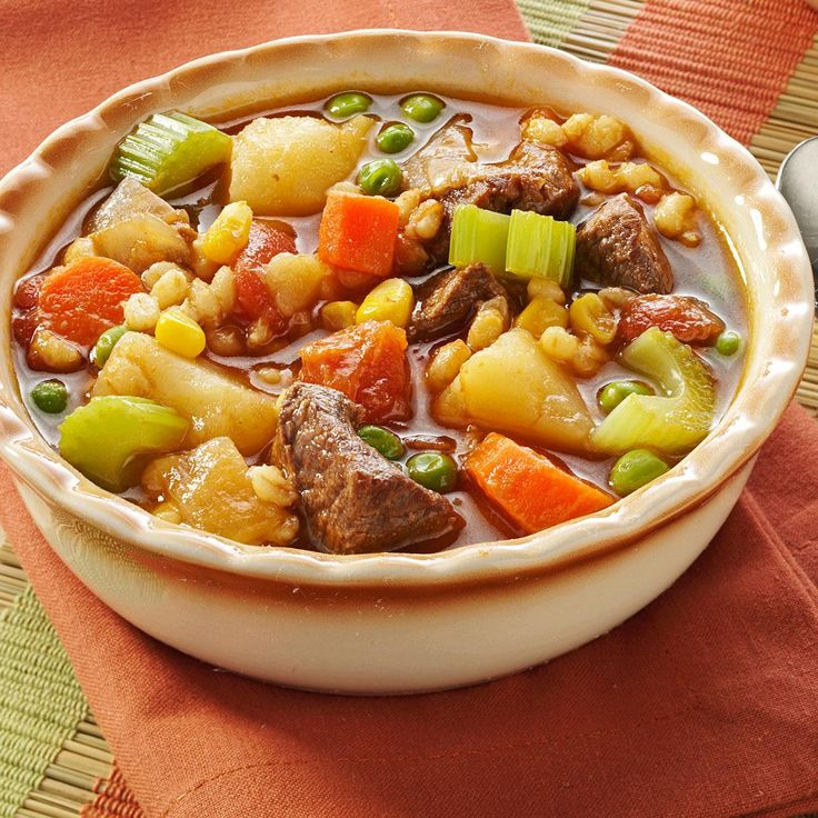 Vegetable Beef Barley Soup Recipe -The barley helps to make this soup filling and robust. I like to eat it with a piece of crusty bread slathered in butter.—Tara McDonald, Kansas City, Missouri