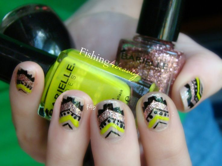 Fishing4Beauty: Aztec Tribal Chevron Manicure featuring @Barielle Cosmetics #glitter #chevron #tribal #manicure