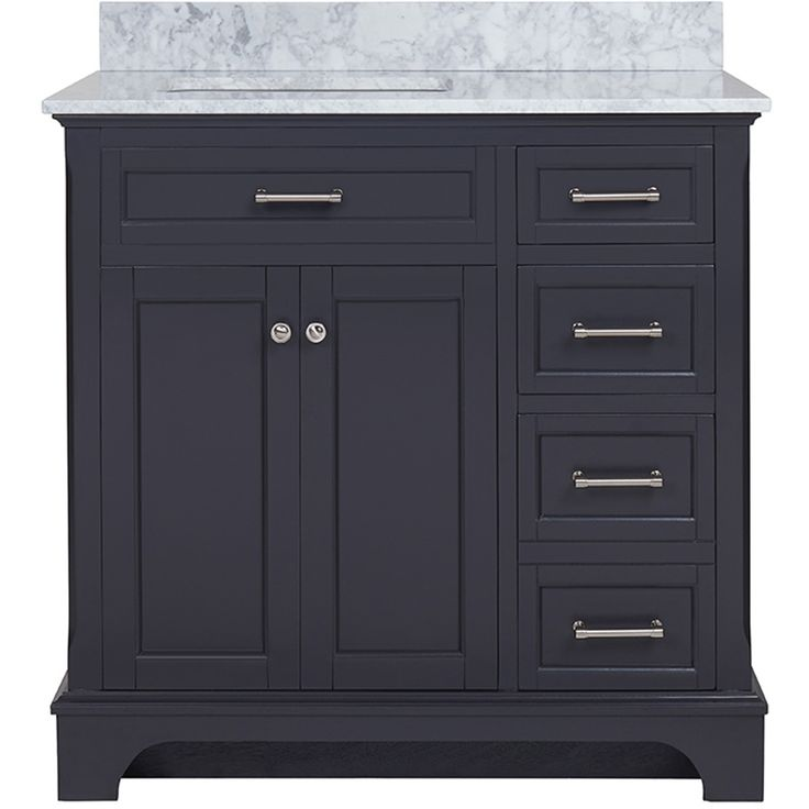 Allen Roth Roveland Gray Undermount Single Sink Birch Bathroom Vanity With Natural Marble Top