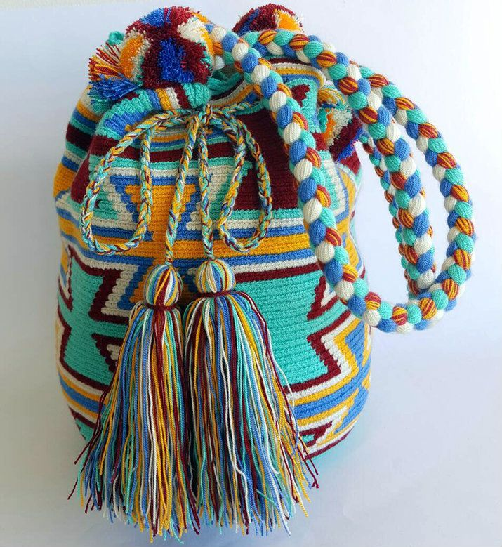Wayuu Bag-Pom Pom Mint Blue - Alynshop