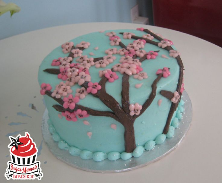 A Floral And Feminine Cherry Blossom Birthday Cake