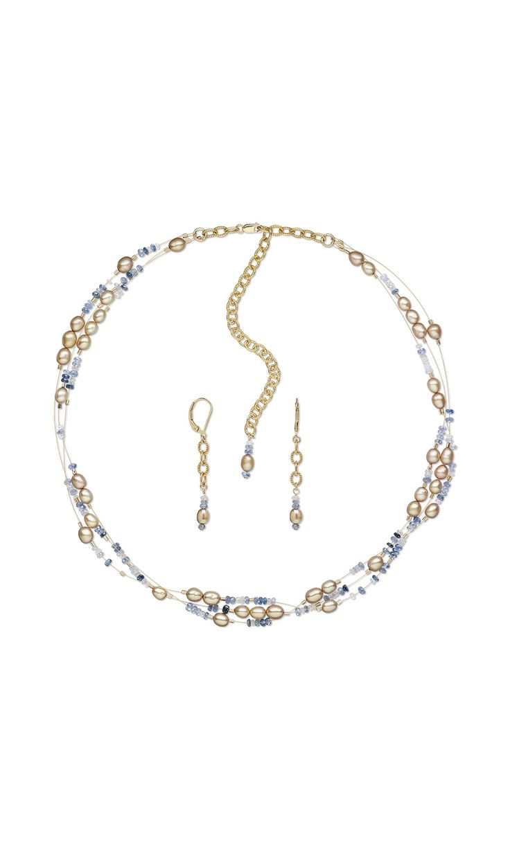 jewelry design triple strand necklace and earring set with cultured freshwater pearls and sapphire gemstone beads fire mountain gems and beads - Jewelry Design Ideas