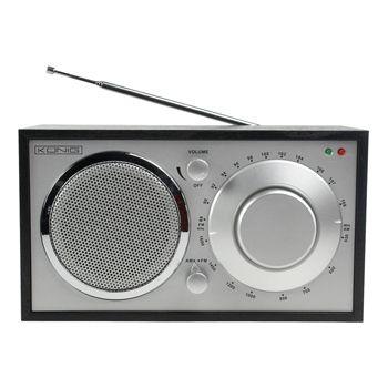 Radio AM/FM de diseño retro color negro - HAV-TR11  Esta radio AM/FM de madera color negro, de diseño retro, es un accesorio de tendencia que combina con cualquier decoración. Puede encontrar su emisora de radio favorita de manera rápida y fácil con su práctico botón giratorio. La antena telescópica externa permite una recepción perfecta. Además, la radio dispone de una conexión 3.5mm para auriculares.