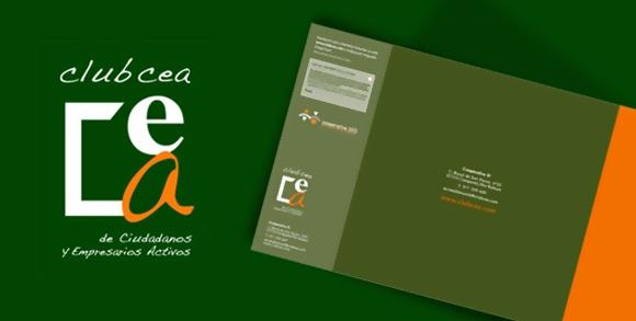 """CLIENTE: www.clubcea.com  TRABAJO: Identidad y tríptico para Cooperativa Sí. Iniciativa Social.   SOLUCIÓN GRÁFICA: Logotipo tipográfico con caracter de dibujo: tanto por proporciones como variedad de letras. Algunas elegantes, otras activas (cursivas como la a), incluso de soporte. Clubcea, manuscrito y cercano. Los bloques de texto son """"Óptima"""": una tipografía humanista, sin serifas, admirada. Del diseñador alemán Hermann Zapf, 1918."""
