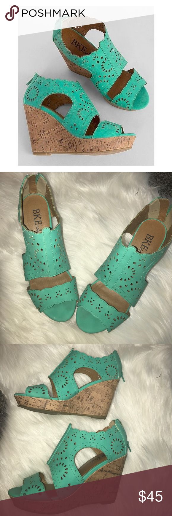 BKE teal wedges These wedges are perfect for summer!! They have been only worn a few times and still are in very good condition, they have a few small scuffs on the toe pictured barely noticeable and some on one of the back of the cork heel also barely noticeable. Lots of wear left! BKE Shoes