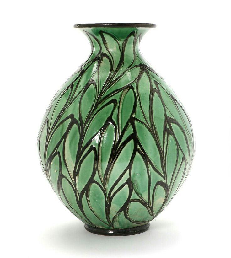 Groene aardewerk vloer vaas van Kähler met bladmoetief