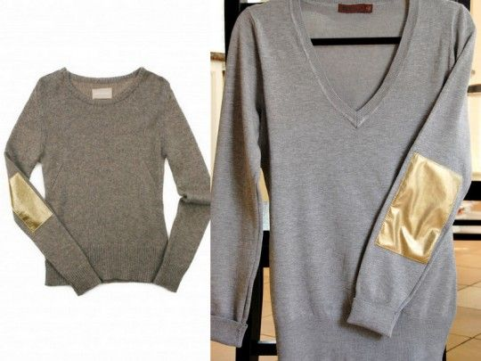 DIY: Zadig et Voltaire Gold Elbow Patch Sweater. @Jane Wang, check this out for your DIY board! Will start searching for gold leather NOW! Thanks to @Elizabeth Silbermann : )