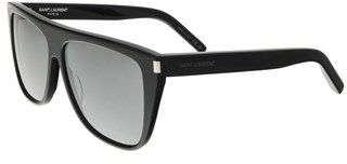 Saint Laurent Sl 1-001 Black Flat Top Rectangle Sunglasses.