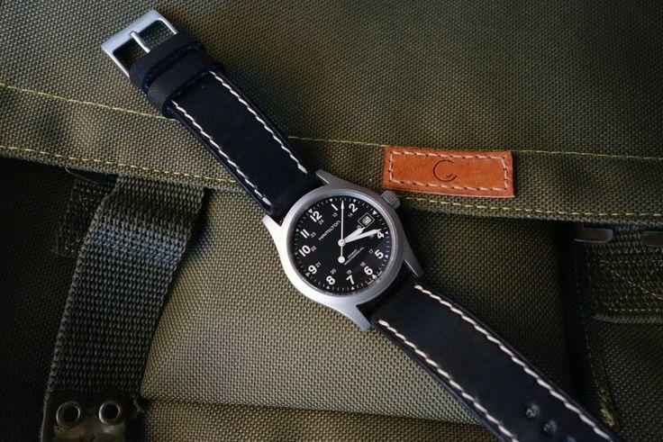Hamilton khaki mechanical 38mm with Greenstraps noir ii leather