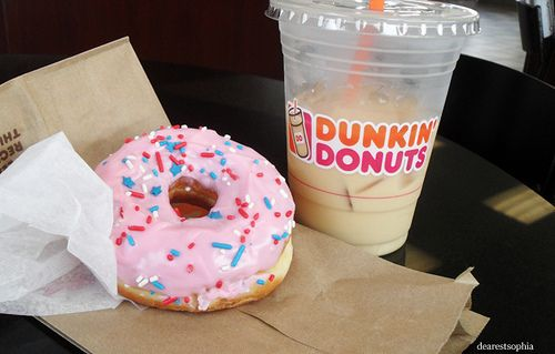 pink donut from dukin' donuts