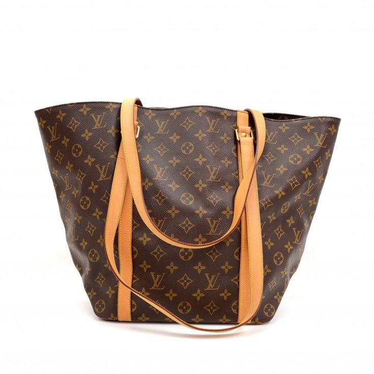 Louis Vuitton Sac Shopping Monogram Canvas Shoulder Tote Bag Excellent CC38