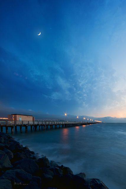 Night at Berkeley Pier, Berkeley, Alameda, California by Lee Sie