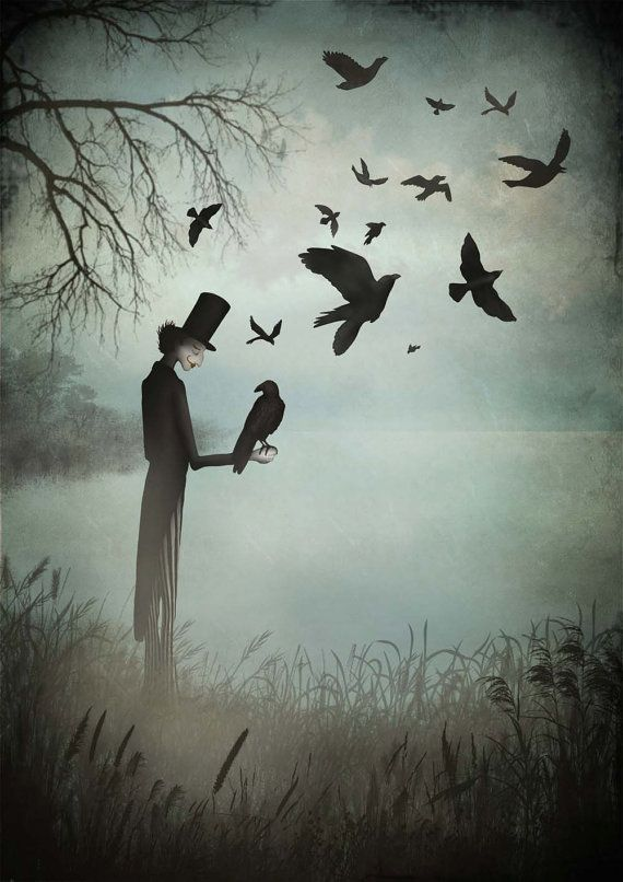 """The magician and his crows - Illustration print (size 7"""" x 5"""")"""