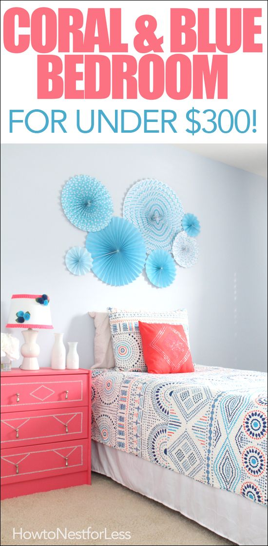 Coral and blue kids bedroom design on a budget! Includes lots of DIY projects (IKEA dresser hack, wall shelf system, wall art & more!)