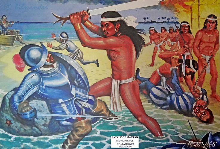 Philippines, Cebu, Fort San Pedro painting, Lapu-Lapu killing Magelan in battle of Mactan #PhiΙippines