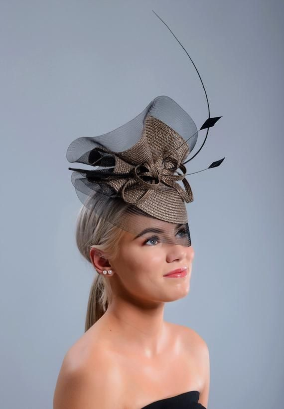 b8eea3d3 Silver, brownish grey and black Royal Ascot hat, stunning Kentucky Derby hat,  silver wedding fascinator hat