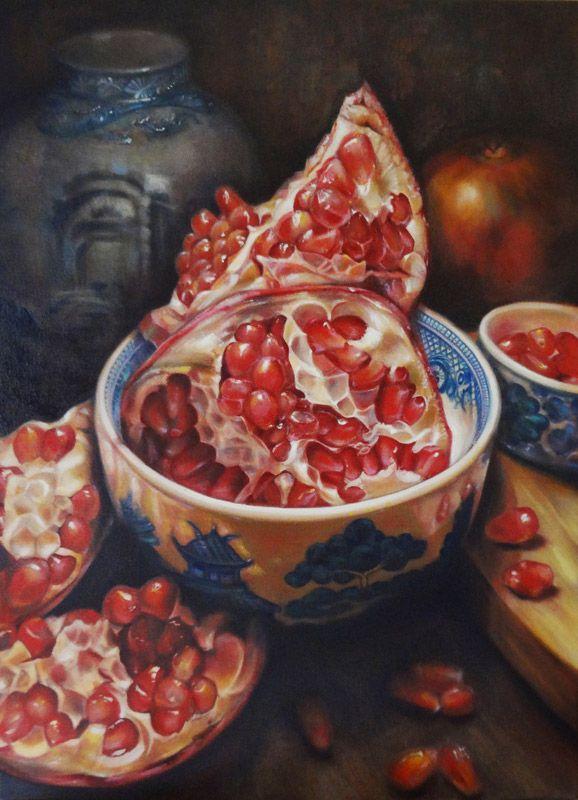 Gatya Kelly - Pomegranate Dream - oil on canvas 90 x 66cm - pomegranate still life oil painting