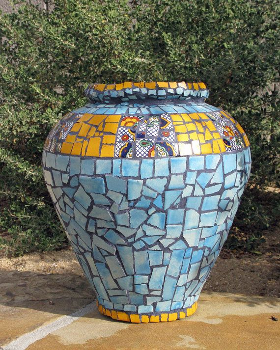 Good The Chief: Talavera Tiled Glass Vase