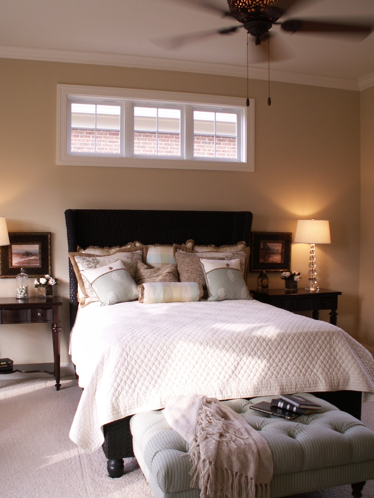 Small high windows  Master bedroom  Bedroom windows