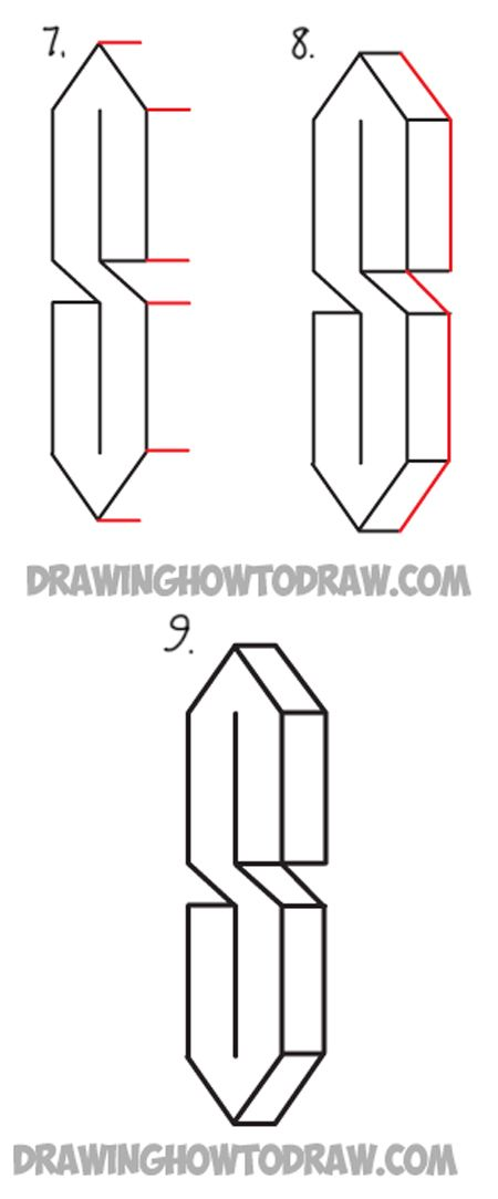 draw a 3 dimensional letter s shape from 3 lines