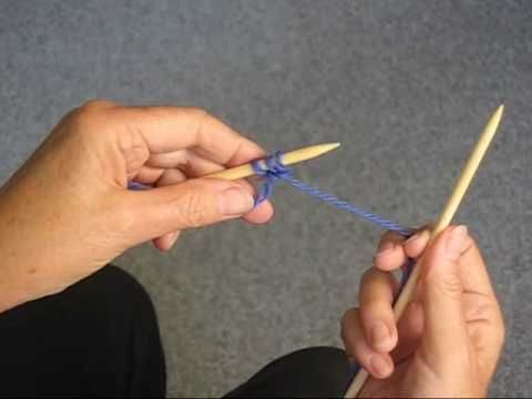Slow, easy demonstration of casting on in knitting.