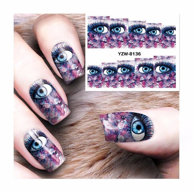 [Visit to Buy] ZKO 1 Sheet Water Transfer Tattoo Full Tips Nail Art Beauty Sexy Lady Women Sticker Nail Decals New 8136 #Advertisement