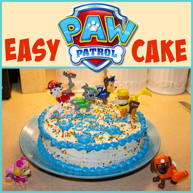 Mending the Piggy Bank | Easy Paw Patrol Cake -- Make an easy Paw Patrol cake with figures you already have and under $5 in supplies! You'll little pup lover will really enjoy it!