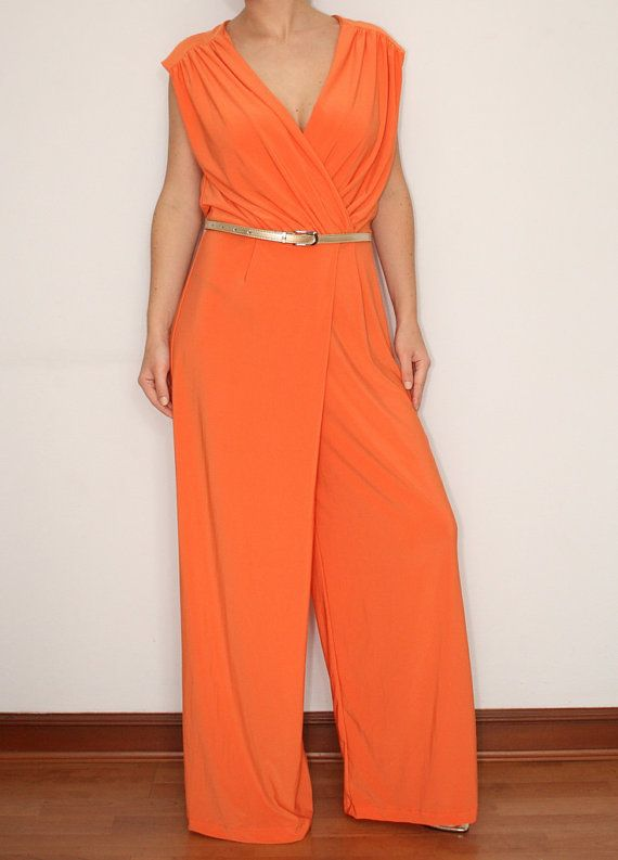 Wide Leg Jumpsuit Palazzo Wrap Pants in Neon Orange by KSclothing, $40.00
