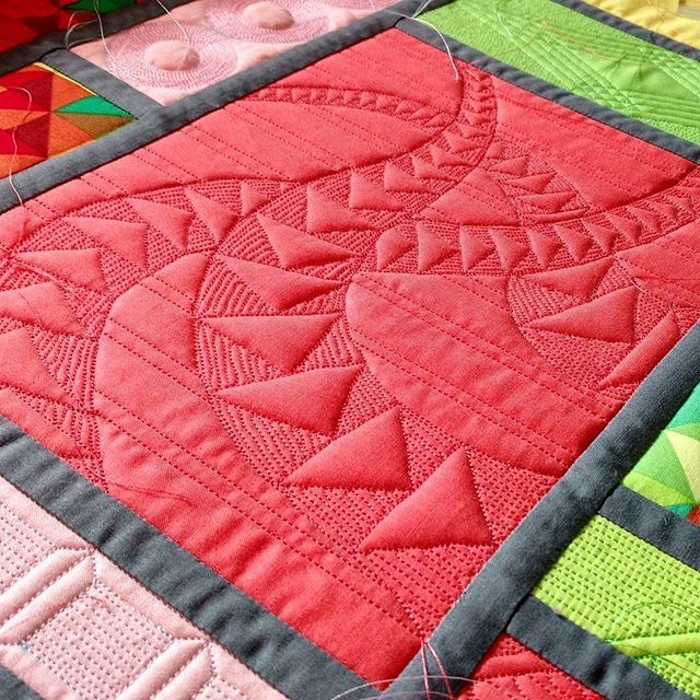 plain block with quilted-in abstract image