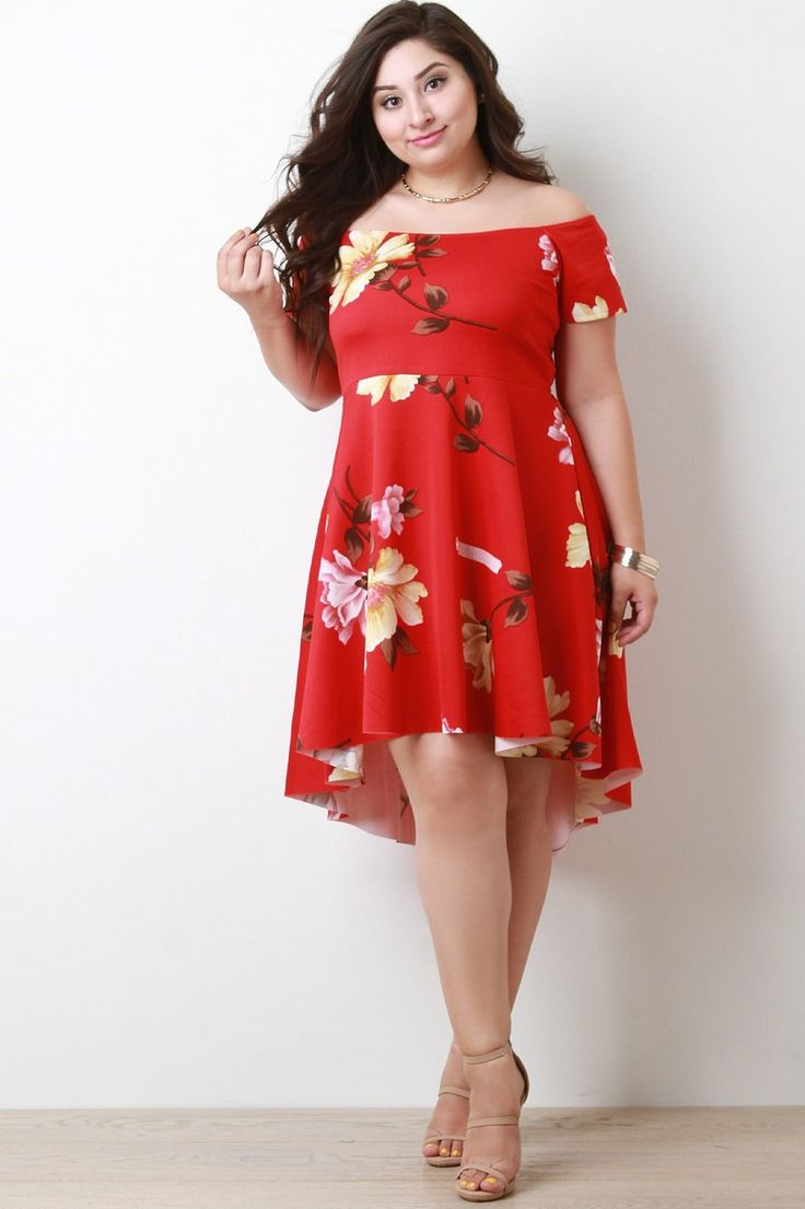 Off The Shoulder Floral High Low Midi Dress Red, C$59.99