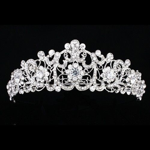 Bridal Pageant Rhinestone Crystal Prom Wedding Floral Crown Tiara 6856 | eBay
