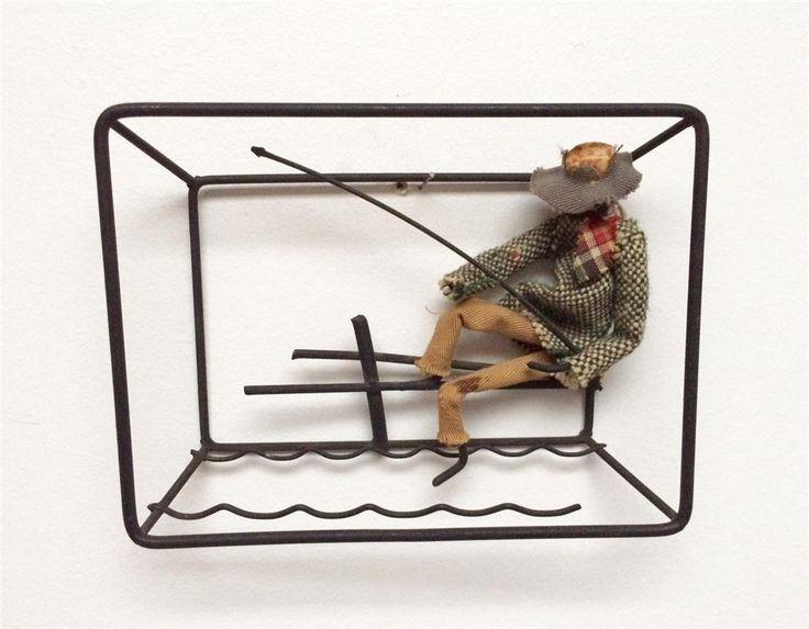 Annons på Tradera: Bonfils tavla i string. Fiskare. Danskt 50tal