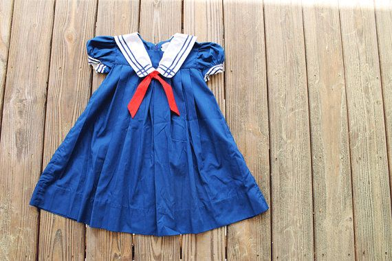 Baby Girl Sailor Dress/ 3t/ Navy Blue/ Vintage/ Nautical/ Sailor Clothing/ 4th of July