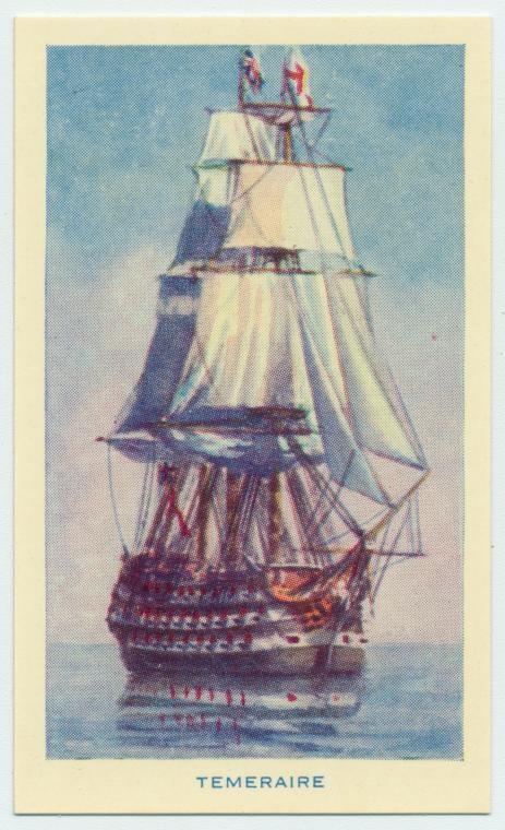HMS Temeraire - Cigarette card.  'Famous Ships'