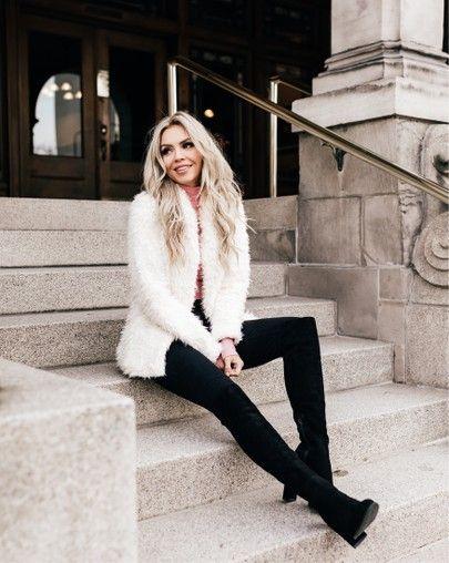 black boots, white fur jacket