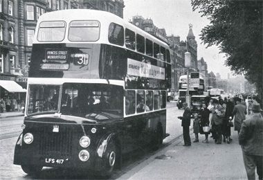 Arrival of the Titans ECT takes delivery of the first of more than 450 post-war Leyland Titan double deckers. Here one of the buses that replaced the No.1 tram service is seen picking up from Princes Street in 1952