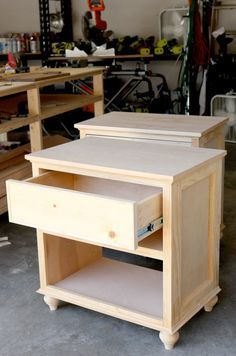 How to build a DIY bedside table nightstand. Jen makes it easy for us with free design plans and step-by-step tutorial! Finish your DIY project off with some wood stain (http://www.rustoleum.com/product-catalog/consumer-brands/wood-care/ultimate-wood-stain/) or durable paint (http://www.rustoleum.com/product-catalog/consumer-brands/painters-touch-ultra-cover/multi-purpose-gloss-brush-on-paint/) before you showcase your hard but worth it work!