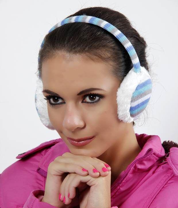 Bizarro Blue & Grey Striped Ear Warmer