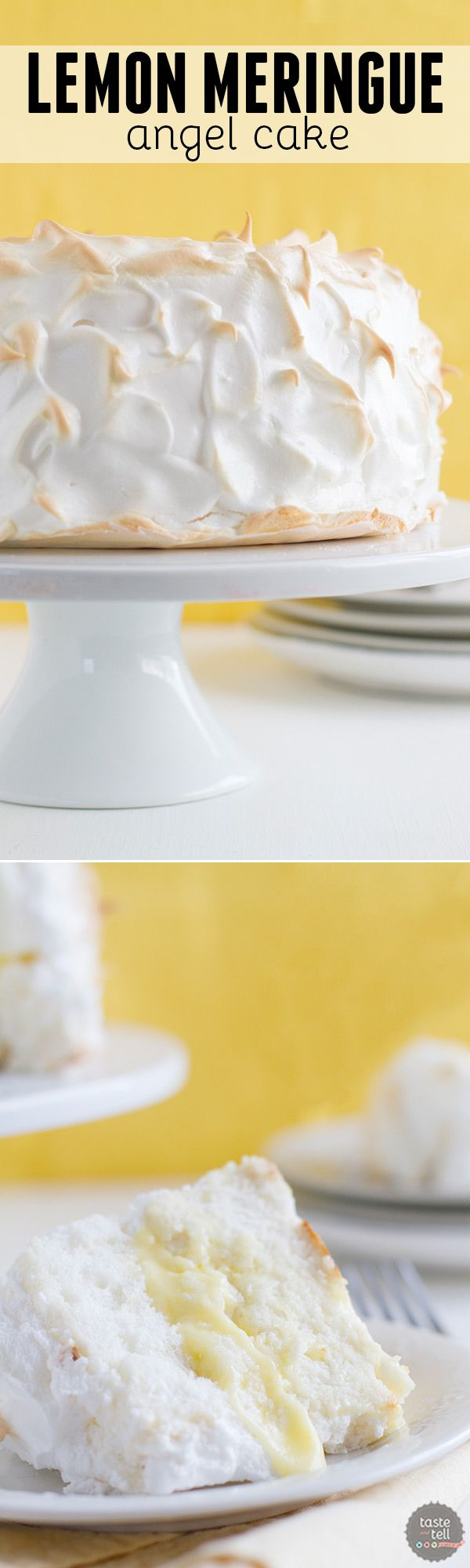 Love angel food cake and lemon meringue pie? This Lemon Meringue Angel Cake combines the best of both for an impressive dessert!