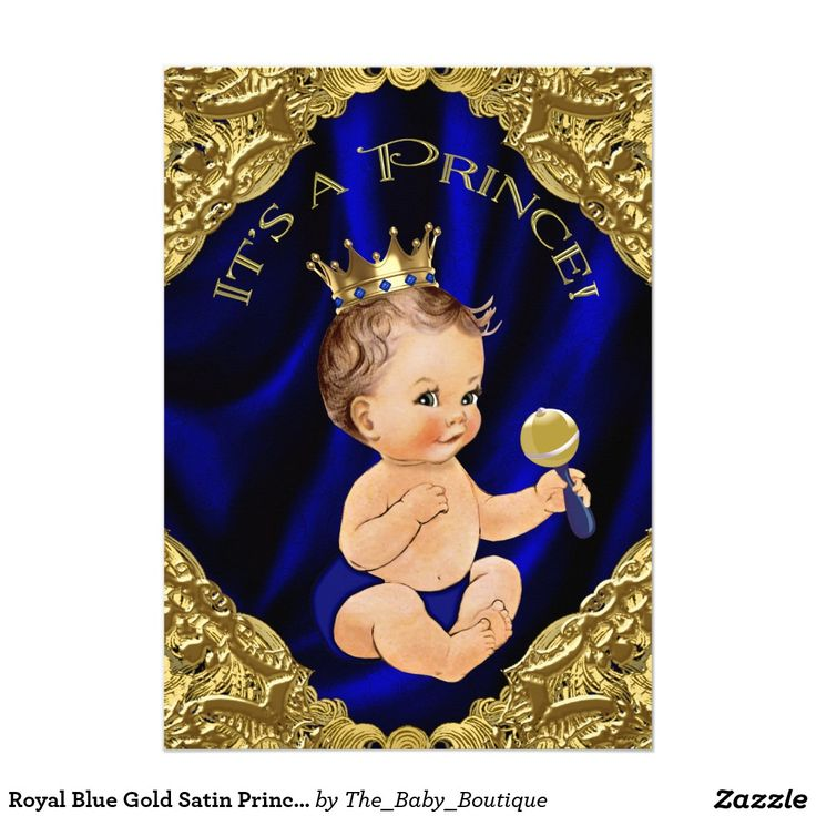 Royal Blue Gold Satin Prince Baby Shower 5x7 Paper Invitation Card
