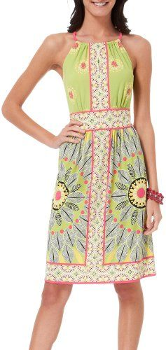 London Times dress provides a flowing look along with a bright graphic floral inspired print, halter neck style & kaleidoscope framed border. Pol ...