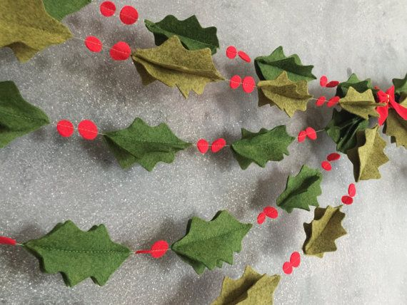 3D Felt Holly Garland. Perfect decoration to add anywhere to give a simple but cute feel! I even looks great layered & swaged above the fireplace!    Holly Garland comes in two green shades, Pick from the dropbox when ordering!    *HOLLY GARLAND PRICING IS FOR ONE STRAND ONLY