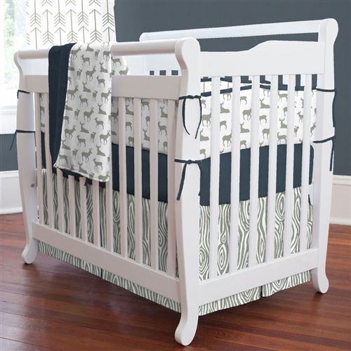 Navy and Gray Deer Mini Crib Bedding by Carousel Designs.